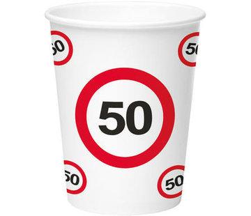 50 Jaar Verkeersbord Papieren Bekers - 8 stuks