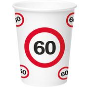 60 Jaar Verkeersbord Papieren Bekers - 8 stuks
