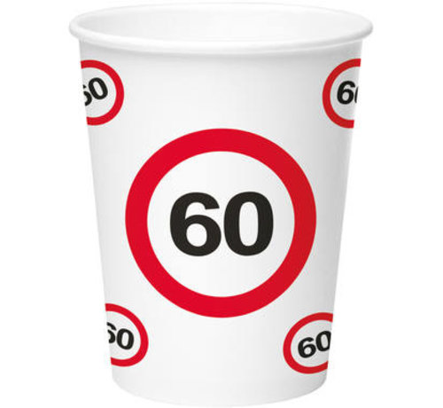 60 Jaar Verkeersbord Papieren Bekers 350ml - 8 stuks