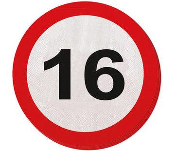 16 Jaar Verkeersbord Servetten - 20 stuks