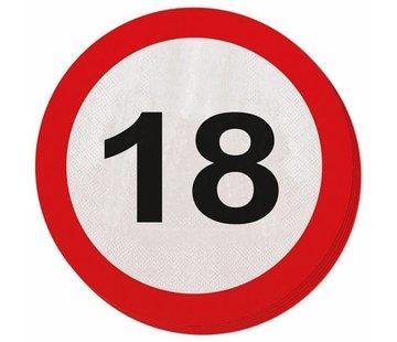 18 Jaar Verkeersbord Servetten - 20 stuks