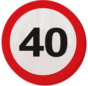 40 Jaar Verkeersbord Servetten - 20 stuks