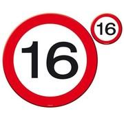 16 Jaar Verkeersbord Placemat en Onderzetter - 4x