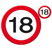 18 Jaar Verkeersbord Placemat en Onderzetter - 4x