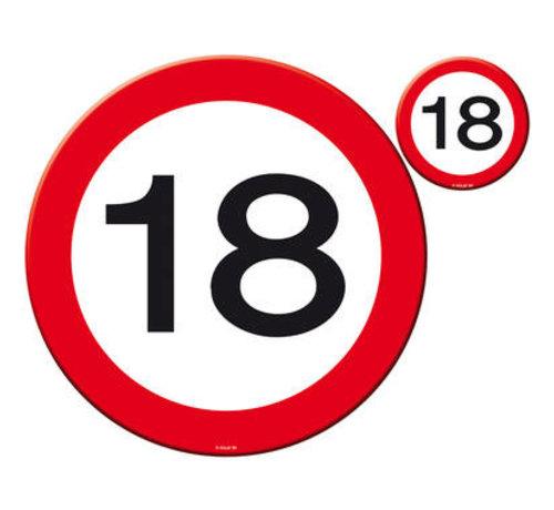 18 Jaar Verkeersbord Placemat en Onderzetter set - 4x