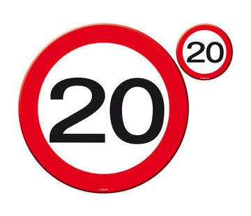 20 Jaar Verkeersbord Placemat en Onderzetter - 4x