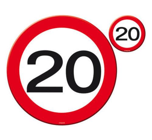 20 Jaar Verkeersbord Placemat en Onderzetter set - 4x