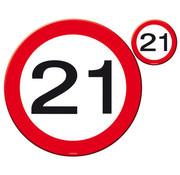 21 Jaar Verkeersbord Placemat en Onderzetter - 4x