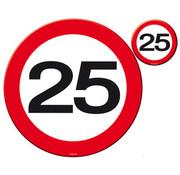 25 Jaar Verkeersbord Placemat en Onderzetter - 4x