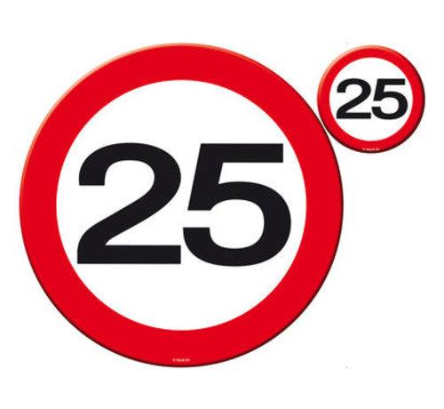 25 Jaar Verkeersbord Placemat en Onderzetter set - 4x