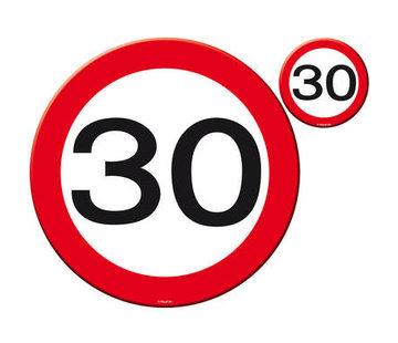 30 Jaar Verkeersbord Placemat en Onderzetter - 4x