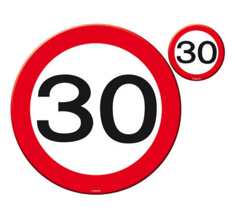 30 Jaar Verkeersbord Placemat en Onderzetter set - 4x