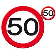 50 Jaar Verkeersbord Placemat en Onderzetter - 4x