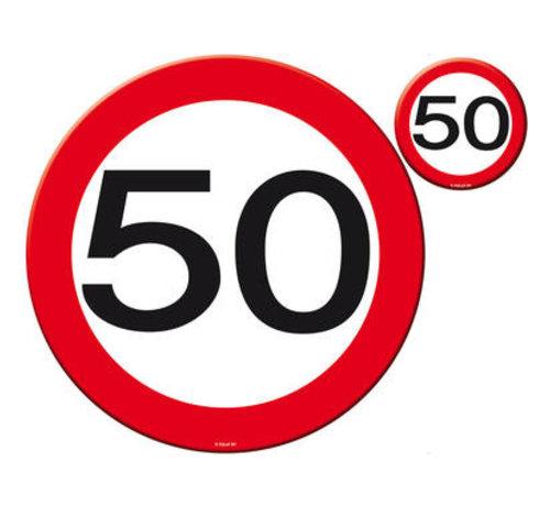 50 Jaar Verkeersbord Placemat en Onderzetter set - 4x