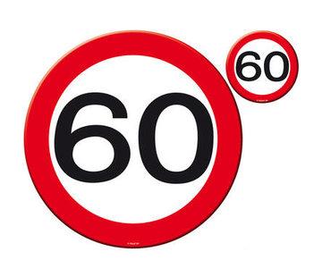 60 Jaar Verkeersbord Placemat en Onderzetter - 4x