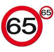 65 Jaar Verkeersbord Placemat en Onderzetter - 4x