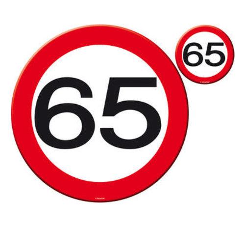65 Jaar Verkeersbord Placemat en Onderzetter set - 4x