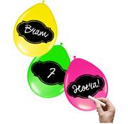 Beschrijfbare Ballonnen Neon Meerkleurig 30cm - 6 stuks