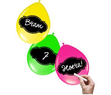 Beschrijfbare Ballonnen Neon Meerkleurig 30 cm - 6 stuks