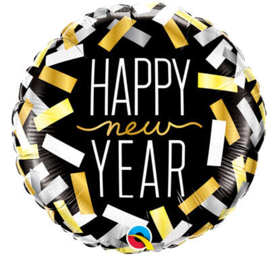 New Year Confetti Folieballon 45cm - per stuk