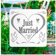 Tuinbord Just Married - Per Stuk