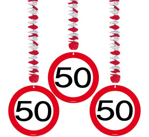 50 Jaar Verkeersbord Hangdecoratie - Per Stuk