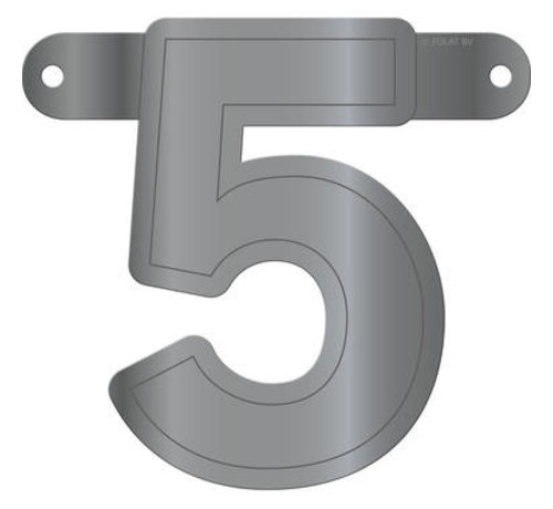 Letterslinger 5 Metallic Zilver