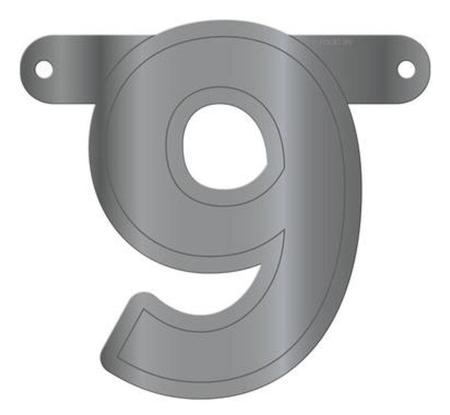 Letterslinger 9 Metallic Zilver