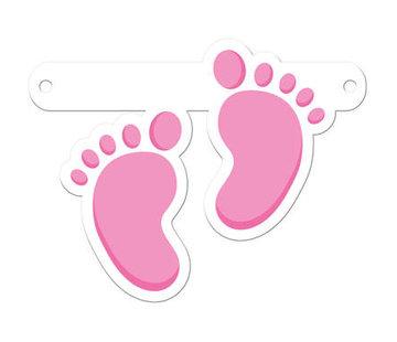 Letterslinger Geboorte Babyvoetjes Meisje Roze