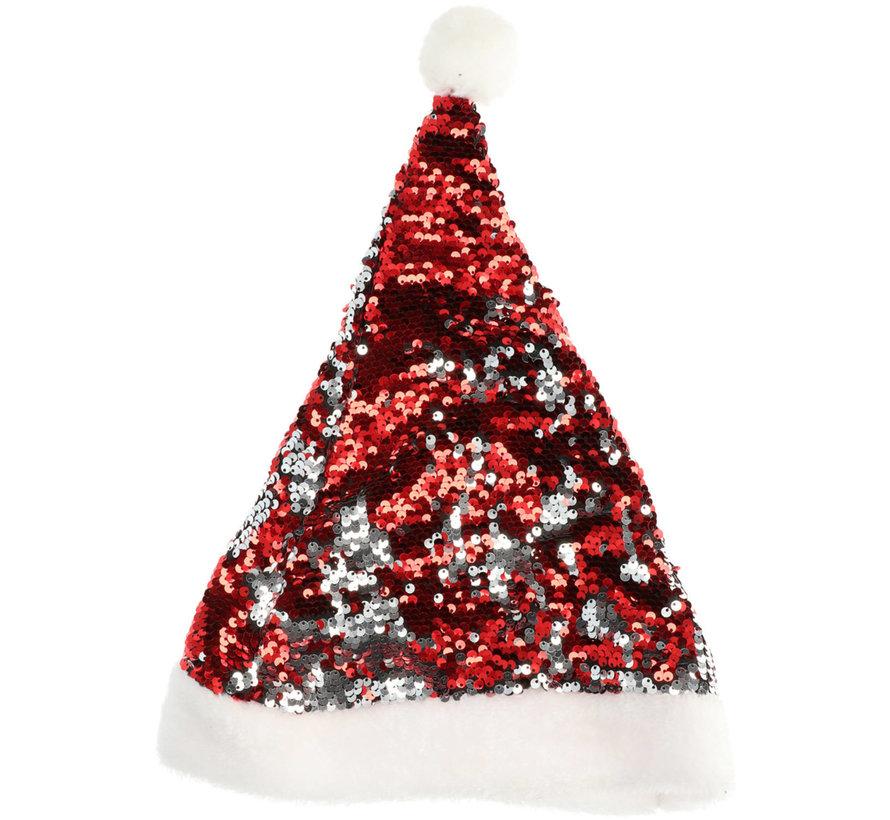 Kerstmuts Omkeerbare Pailletten Rood-Zilverkleurig