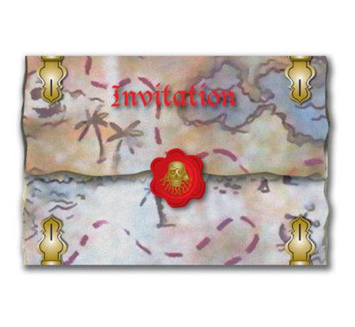 Rode Piraten Uitnodigingen - 8 stuks