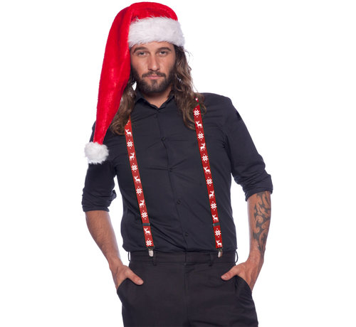 Bretels Kerst Rood Rendier - per stuk