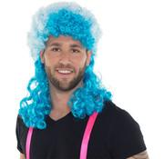 Neon Blauwe Afro Pruik met Lange Krullen
