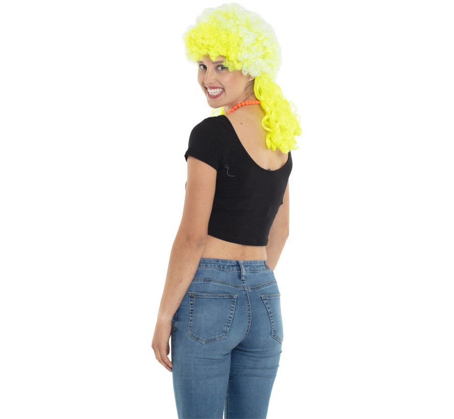 Neon Gele Afro Pruik met Lange Krullen