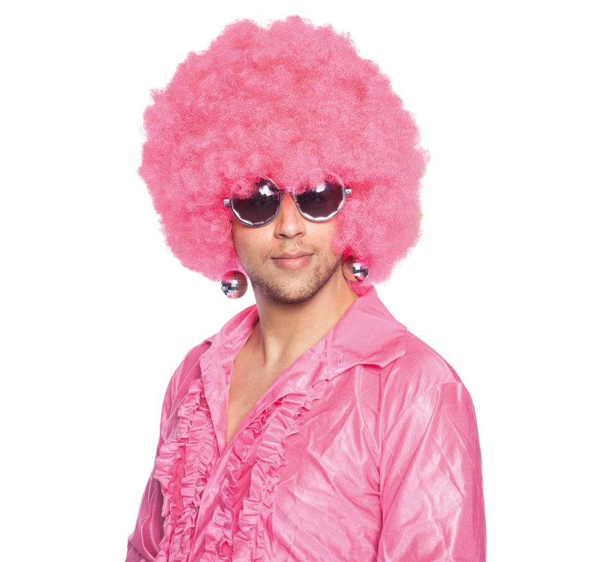 Roze Afro Pruik XL