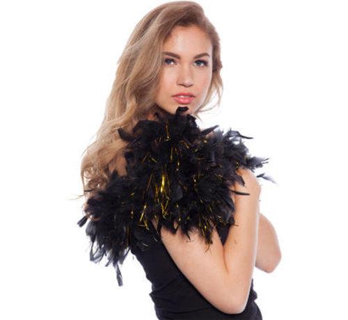 Luxe Boa Zwart met Gouden Tinsels - 180cm