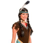Indianen Pruik met vlechten en veer