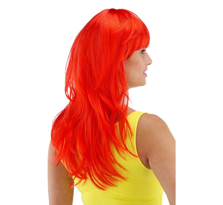 Pruik lang haar pony rood
