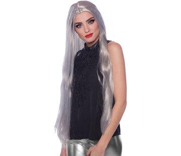 Zilverkleurige Pruik Lang Haar
