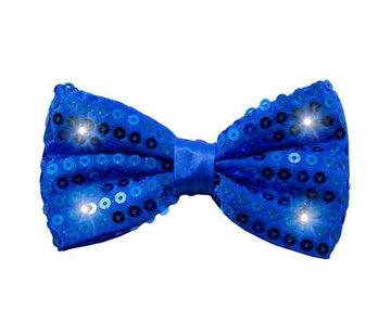Glitter Strikje Metallic Blauw met LED - 12cm