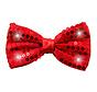 Glitter Strikje Metallic Rood met LED - 12cm