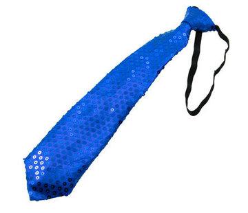 Glitter Stropdas Metallic Blauw met LED - 20cm