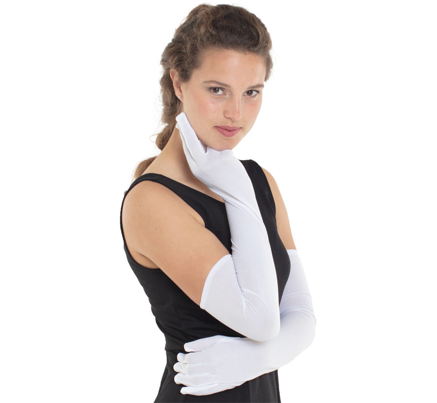 Lange Witte Handschoenen Dames - 50cm