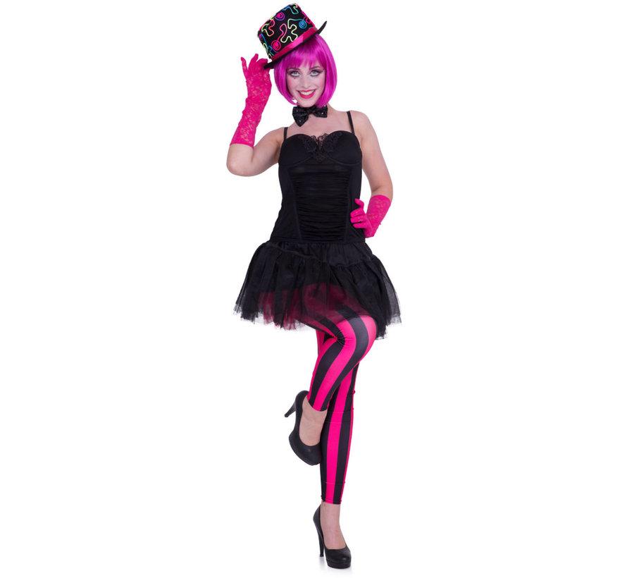 Legging Streep Neon Roze/Zwart