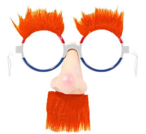 Feestbril met neus en oranje haar