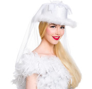 Witte Bruidshoed met Sluier - 27cm