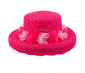 Zomer hoed organza bloemen krans - Neon roze - 30cm