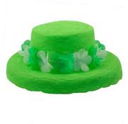 Zomer hoed organza bloemen krans - Neon groen - 30cm