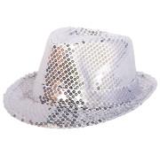 Zilveren trilby hoed met glitters - 21cm