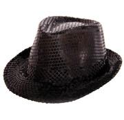 Trilby hoed metallic zwart met glitters - 21cm